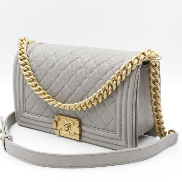 bd7c58207588 CHANEL Bags | Grey Caviar Goldtone Metal Medium Boy Bag | Poshmark